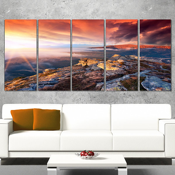 Colorful Autumn Sky and Mountains Landscape Photography Canvas Print - 4 Panels