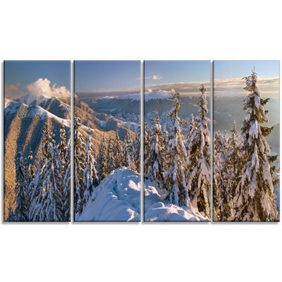 Designart Winter Carpathians Panoramic View Landscape CanvasArt Print - 4 Panels