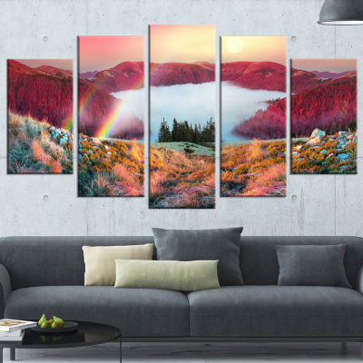 Designart Colorful Beach Forest in Carpathians Landscape Photography Canvas Print - 4 Panels