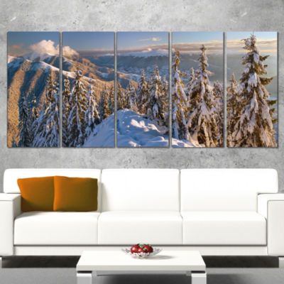 Designart Winter Carpathians Panoramic View Landscape Wrapped Art Print - 5 Panels