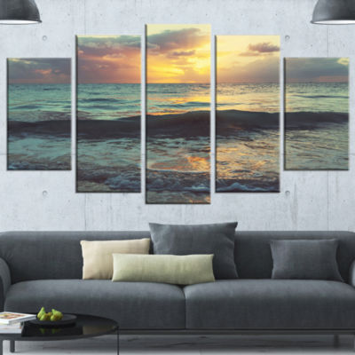 Colorful Bluish Waters at Sunset Seascape WrappedCanvas Art Print - 5 Panels