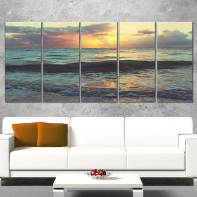 Colorful Bluish Waters at Sunset Seascape Canvas Art Print - 5 Panels