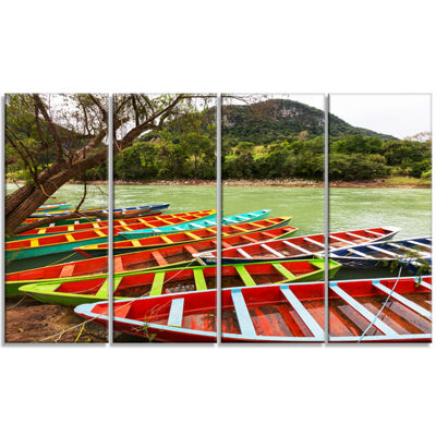 Designart Colorful Boats in Mexico Landscape Canvas Art Print - 4 Panels