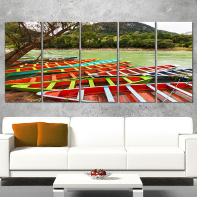 Designart Colorful Boats in Mexico Landscape Wrapped CanvasArt Print - 5 Panels