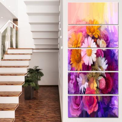Designart Colorful Bouquet of Different Flowers Floral Canvas Art Print - 4 Panels