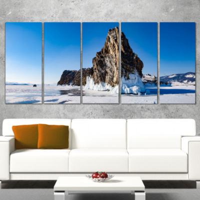 Designart Winter Lake Baikal Panorama Extra LargeSeashore Canvas Art - 4 Panels