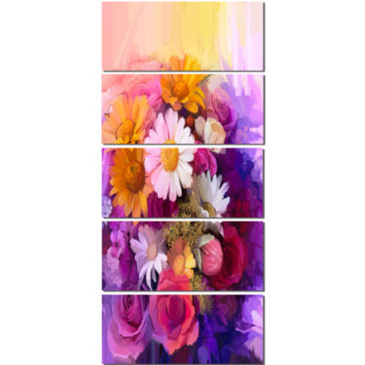 Colorful Bouquet of Different Flowers Floral Canvas Art Print - 5 Panels