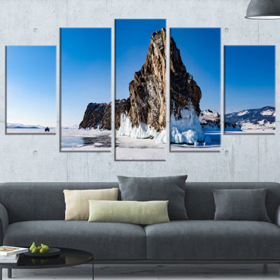 Designart Winter Lake Baikal Panorama Extra LargeSeashore Wrapped Art - 5 Panels