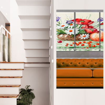 Colorful Bunch of Flowers and Fruits Floral Art Canvas Print - 4 Panels