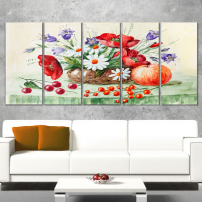 Designart Colorful Bunch of Flowers and Fruits Floral Art Wrapped Canvas Print - 5 Panels