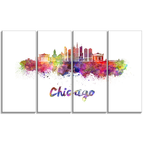 Designart Colorful Chicago Skyline in Watercolor Cityscape Canvas Print - 4 Panels
