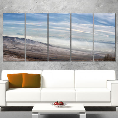 Winter Mountains in Caucasus Oversized Beach Canvas Artwork - 4 Panels