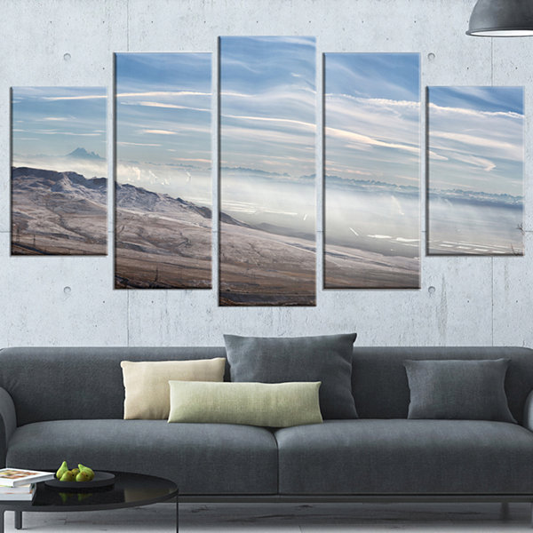 Designart Winter Mountains in Caucasus Oversized Beach Wrapped Artwork - 5 Panels