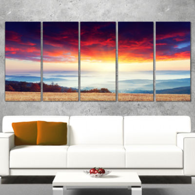 Designart Colorful Clouds and Foggy Hills Landscape Photo Canvas Art Print - 5 Panels