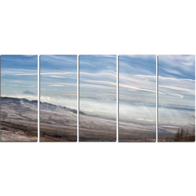 Designart Winter Mountains in Caucasus Oversized Beach Canvas Artwork - 5 Panels