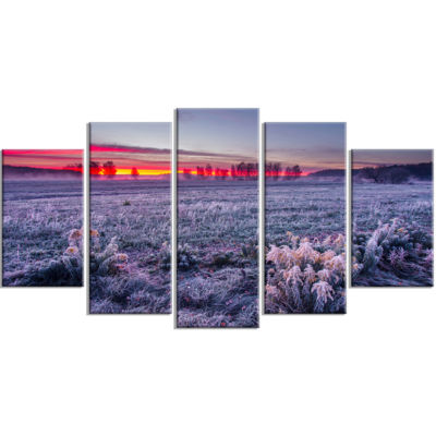 Colorful Cold Frosty Morning Landscape Print Wrapped Wall Artwork - 5 Panels