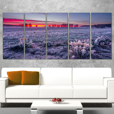 Designart Colorful Cold Frosty Morning Landscape Print Wrapped Wall Artwork - 5 Panels