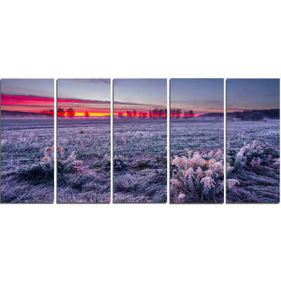 Designart Colorful Cold Frosty Morning Landscape Print WallArtwork - 5 Panels