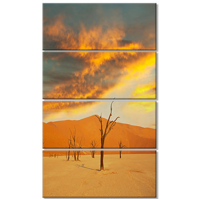 Designart Colorful Death Valley with Dry Trees African Landscape Canvas Art Print - 4 Panels