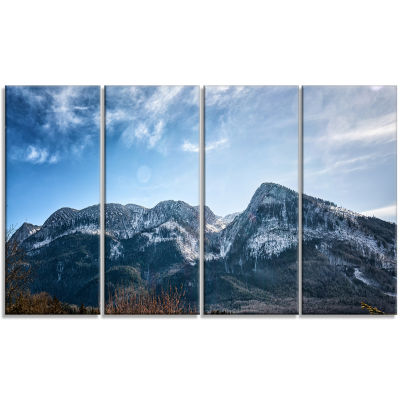 Winter Mountains with Sun Flare Landscape Canvas Art Print - 4 Panels