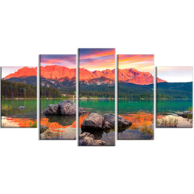 Colorful Eibsee Lake Sunset Landscape Photo Wrapped Canvas Art Print - 5 Panels
