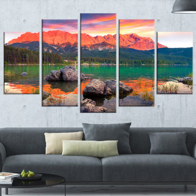 Designart Colorful Eibsee Lake Sunset Landscape Photo Wrapped Canvas Art Print - 5 Panels