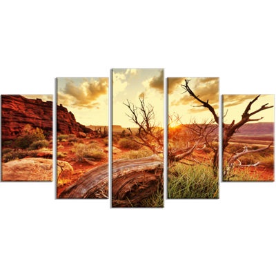 Designart Colorful Fall American Prairie OversizedLandscapeWrapped Canvas Art - 5 Panels