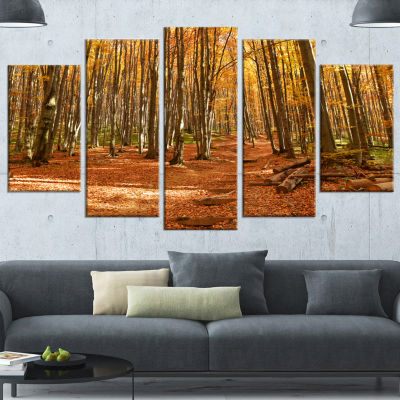 Designart Colorful Fall Forest with Fallen LeavesModern Forest Wrapped Canvas Art - 5 Panels