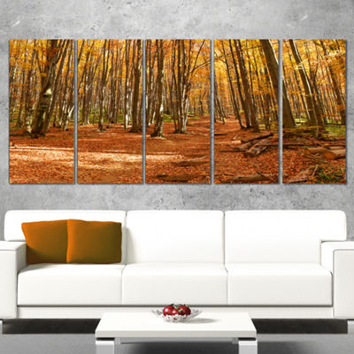 Designart Colorful Fall Forest with Fallen LeavesModern Forest Canvas Art - 5 Panels