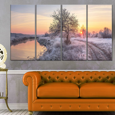 Designart Winter Sunrise Over Frosty Field Landscape Print Wall Artwork - 4 Panels