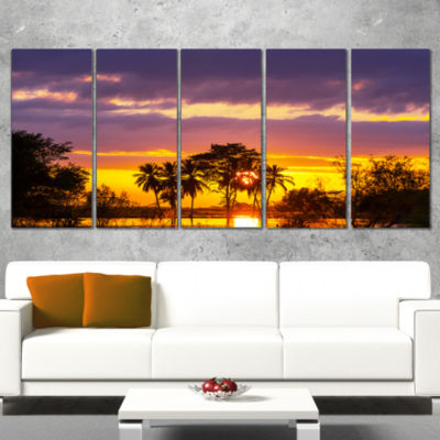 Colorful Flooded Field at Sunset Landscape Wall Art On Wrapped Canvas - 5 Panels
