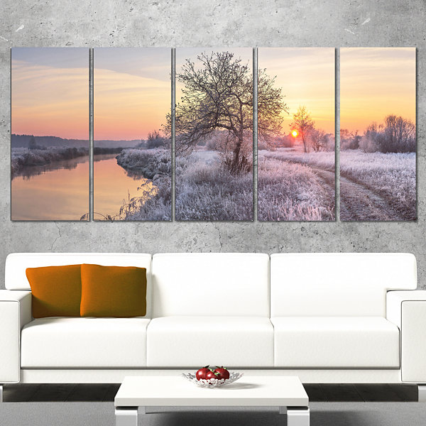 Designart Winter Sunrise Over Frosty Field Landscape Print Wall Artwork - 5 Panels