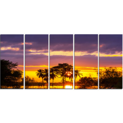 Colorful Flooded Field at Sunset Landscape Wall Art On Canvas - 5 Panels
