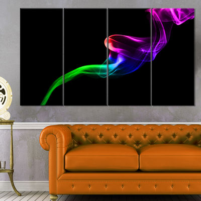 Designart Colorful Fractal Fire Design On Black Large Abstract Canvas Wall Art - 4 Panels