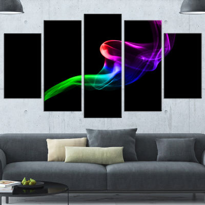 Colorful Fractal Fire Design On Black Large Abstract Wrapped Canvas Wall Art - 5 Panels