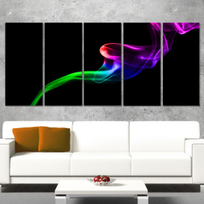 Colorful Fractal Fire Design On Black Large Abstract Canvas Wall Art - 5 Panels