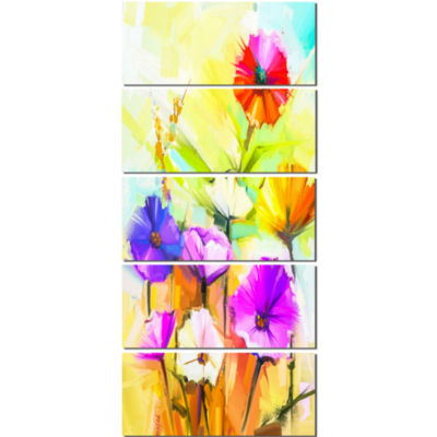 Colorful Gerbera Flowers Painting Large Floral Canvas Artwork - 5 Panels