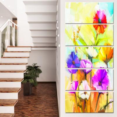 Designart Colorful Gerbera Flowers Painting LargeFloral Canvas Artwork - 5 Panels