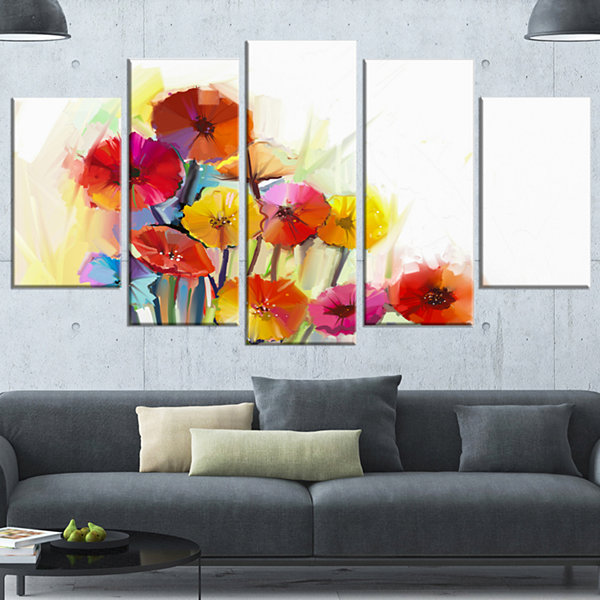 Designart Colorful Gerbera Flowers Watercolor Large Floral Wrapped Canvas Artwork - 5 Panels