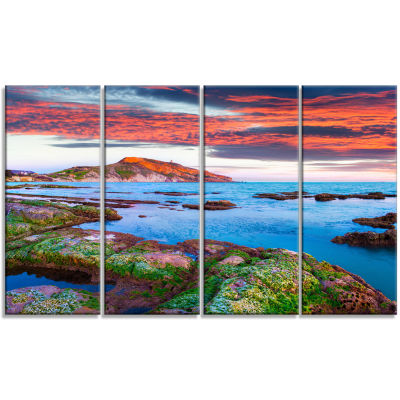 Colorful Giollonardo Beach Sunset Modern SeashoreCanvas Art - 4 Panels