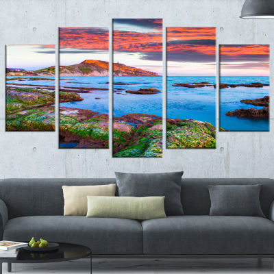 Colorful Giollonardo Beach Sunset Modern SeashoreWrapped Canvas Art - 5 Panels