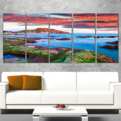 Colorful Giollonardo Beach Sunset Modern SeashoreCanvas Art - 5 Panels