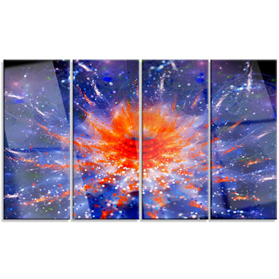 Designart Colorful Glowing Flower in Space FlowerArtwork OnCanvas - 4 Panels