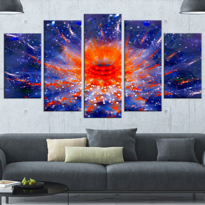 Designart Colorful Glowing Flower in Space FlowerArtwork OnCanvas - 5 Panels