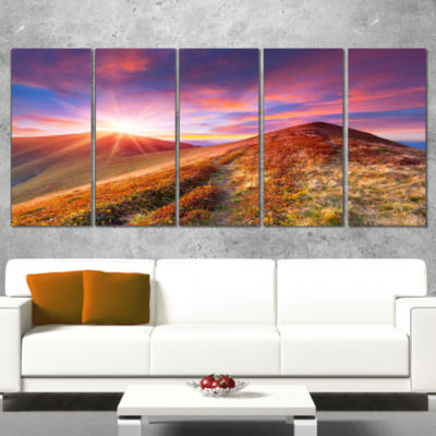 Colorful Grass and Clouds Landscape Photography Canvas Art Print - 4 Panels