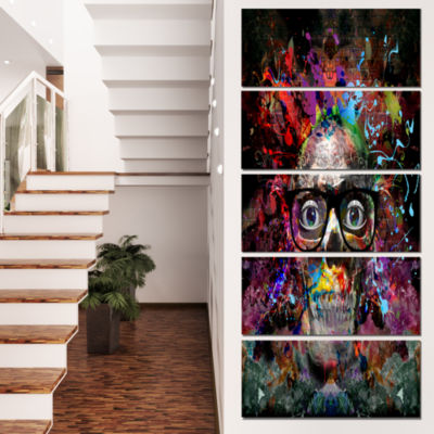 Designart Colorful Human Skull with Glasses Abstract Wall Art Canvas - 5 Panels