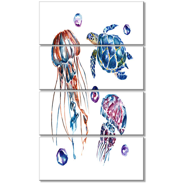 Designart Colorful Jellyfish and Turtles Animal Canvas Art Print - 4 Panels