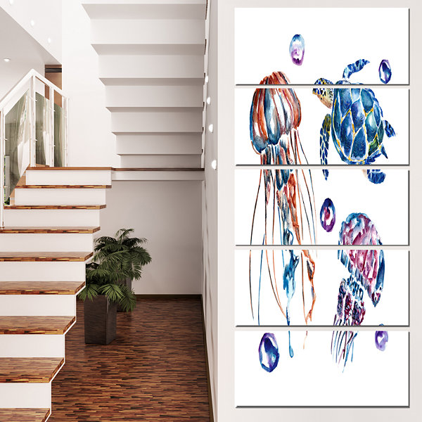 Designart Colorful Jellyfish and Turtles Animal Canvas Art Print - 5 Panels