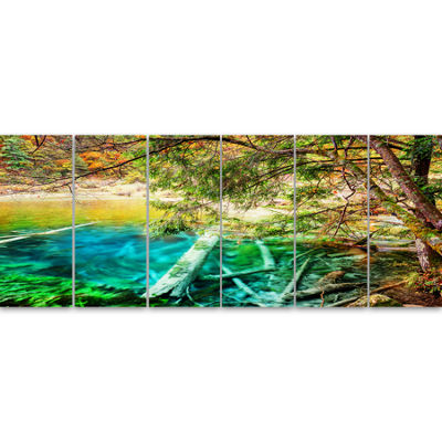Designart Colorful Lake with Tree Trunks LandscapeCanvas Wall Art 6 Panels