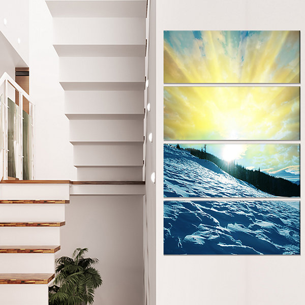 Designart Winter with Blue Waters at Sunset Seashore CanvasArt Print - 4 Panels